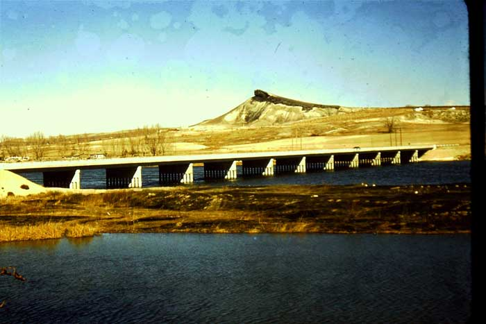 Lizard Butte and Snake River bridge at Marsing, Idaho